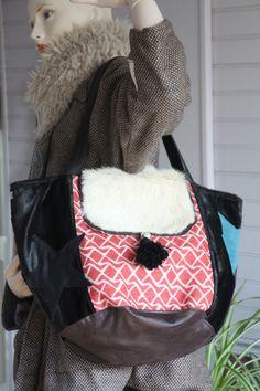 Сумка boheme холст лен красный, белый, искусственный мех черный, искусственная кожа, синий утка, карман холст Сумки ручной работы amish