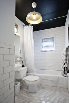 black ceiling in white bathroom painted ceiling via apartment therapy Spa Like Bathroom, Bathroom Renos, Small Bathroom, Bathroom Black, White Bathrooms, Bathroom Ideas, Bathroom Colors, Bathroom Ceiling Paint, Black Bath