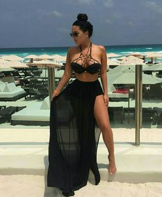 Sheer Maxi Skirt The elastic maxi skirt features a sheer, gathered shirring . Pool Party Outfits, Miami Outfits, Summer Outfits, Girl Outfits, Cute Outfits, Fashion Outfits, Outfit Strand, Sheer Maxi Skirt, Beach Vacation Outfits