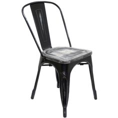 Black metal tabouret style chairs.  Industrial farmhouse dining furniture for less.