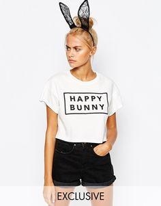 Adolescent Clothing | Adolescent Happy Bunny Crop T-Shirt at ASOS