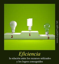 ¿Eres Eficiente? La EFICIENCIA es la relación entre los recursos utilizados y los logros conseguidos. Se entiende que la eficiencia se da cuando se utilizan menos recursos para lograr un mismo objetivo.