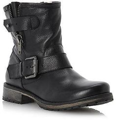 f67ab74a806a Dune Ladies PROMEY Side Zip Leather Ankle Biker Boot in Black - ShopStyle
