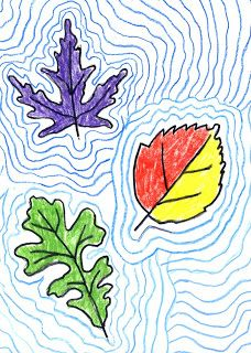 Art Projects for Kids: Contour Fall Leaves...could do as a supplement for our plant science unit