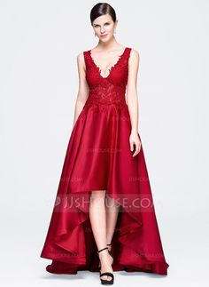 [R$ 480.81] Vestidos princesa/ Formato A Decote V Assimétrico Cetim Renda…