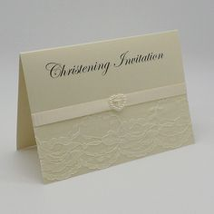 CHRISTENING INVITATION - UNIQUE DESIGN LACEY SATIN RIBBON EMBELLISHMENT, Vintage Lace Wedding Cards Available from www.vintagelaceweddingcards.co.uk Naming Ceremony Invitation, Vintage Lace Weddings, Christening Invitations, Lace Ribbon, Baby Cards, Lace Overlay, Wedding Cards, Embellishments, Birthday Ideas
