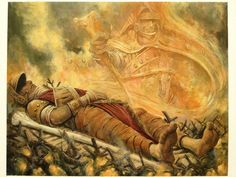 Funeral Pyre by Carl Critchlow.  (The wings in the the final card version were added digitally after the fact)