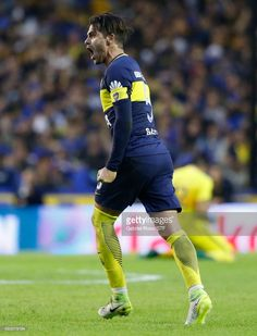 Fernando Gago of Boca Juniors celebrates after scoring the first goal of his team during a match between Boca Juniors and River Plate as part of Torneo Primera Division at Alberto J. Armando Stadium on May 2017 in Buenos Aires, Argentina. Messi And Neymar, 2017 Photos, Football Players, Scores, The One, Goals, River, Celebrities, Plate