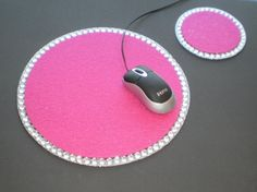 FUCHSIA PINK & BLING Mousepad/Coaster Set by LaurieBCreations, $14.00