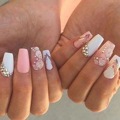 Find images and videos about pink, white and nails on We Heart It - the app to get lost in what you love. Glam Nails, Hot Nails, Pink Nails, Beauty Nails, Glitter Nails, Hair And Nails, Gorgeous Nails, Pretty Nails, Beautiful Nail Designs