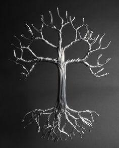 Aluminum Tree of Life — Drawn Metal Studios Wire Art Sculpture, Tree Sculpture, Sculptures, Wire Earrings, Wire Jewelry, Beaded Jewelry, Handmade Jewelry, Metal Tree Wall Art, Metal Art