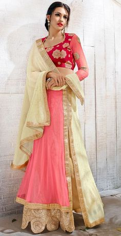 Charismatic Coral Pink and Cream Saree