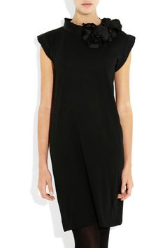 Lanvin - Rosette embellished cotton jersey dress