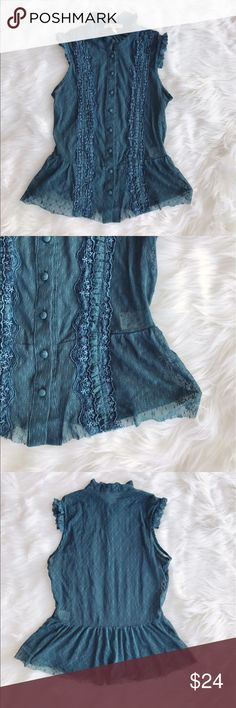 • Free People • Lace Button Up Blouse - Free People - Size Medium (fits like a small though)  - Lace  - Blue  - Button Up - Excellent Condition Free People Tops Blouses
