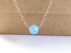 Rose Gold Jewelry Blue Opal Necklace Tiny Blue by KRcollection