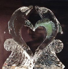 Wedding ice sculpture- Always have loved dolphins! Snow Sculptures, Sculpture Art, Metal Sculptures, Abstract Sculpture, Bronze Sculpture, Snow And Ice, Fire And Ice, Ice Sculpture Wedding, Ice Art