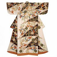 Kimono (kosode)<!--白綸子地松葉梅唐草竹輪模様--> Kimono (kosode) Edo period, 18th century, Museum of Fine Arts, Boston