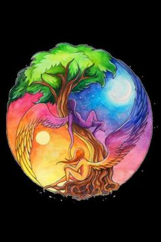 Earth, Air, Water & Fire... The Yin-Yang of the Universe. Love this artistic rendering of it.