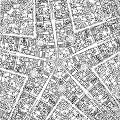 Fantastic Cities Black White 48 Page Urban Coloring Book Made For