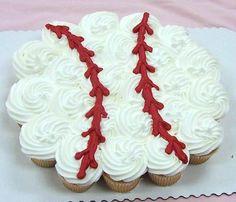 baseball cupcakes great for softball, tball, or baseball party Pull Apart Cupcake Cake, Pull Apart Cake, Cute Cupcakes, Cupcake Cookies, Glitter Cupcakes, Vanilla Cupcakes, Baseball Cupcake Cakes, Softball Cupcakes, Cake Pops