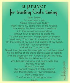 Prayer for trusting God's timing -  by Rachel Wojo