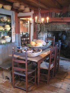 primitive paint colors for a kitchen Primitive Homes, Primitive Dining Rooms, Primitive Kitchen, Primitive Furniture, Primitive Country, Primitive Decor, Country Furniture, Primitive Antiques, Colonial Kitchen
