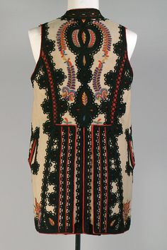 Man's vest of wool melton cloth with embroidery and appliqué, Banat region of… Folk Costume, Costumes, Historical Costume, Shawls And Wraps, Traditional Dresses, Romania, Textiles, Embroidery, Dream Team