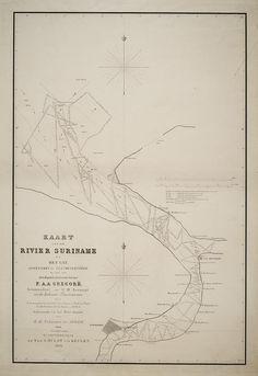 Kaart van de rivier Suriname en het Gat (1860)
