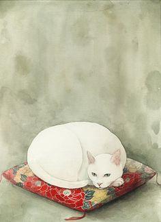 Midori Yamada Art of a white kitty cat sitting on a beautiful cushion. #CatArt #catpaintings