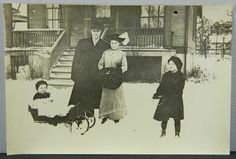 Family in the Snow Baby Sleigh Lady w/ Big Muff Beverly Chicago 1900's Photo #2 (16292) by QueeniesCollectibles on Etsy