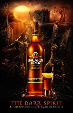 Bacardi Black: The Dark Spirit by Ars Thanea Creative Advertising, Advertising Design, Dark Spirit, Alcohol Bottles, Spiritus, Scotch Whiskey, Advertising Photography, Advertising Campaign, Bottle Design