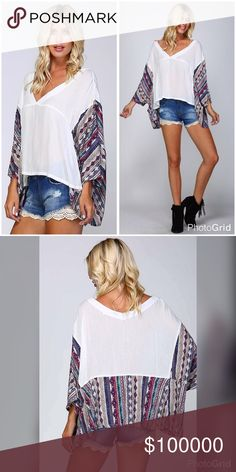 "Super cute v neck oversized contrast top! • Woven kimono top • Contrast ethnic print on kimono sleeves and lower back • Cut slightly longer in back • 2 small pockets in front • Wide V-neck • 100% cotton • Model is 5` 10"" 34B-24-34 and wearing a size Small- 100 % cotton Tops"