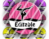 "Editable JPG or PDF Digital Bottle Cap Images - Gymnastics (e268) 1"" Circles for Bottlecaps, Jewelry, Buttons, Magnets, Tiles"