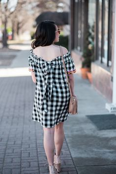 Love the bow on this gingham dress