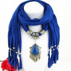 Chic Ethnic Faux Gem Tassel Pendant Tassel Jewelry Scarf For Women - SAPPHIRE BLUE