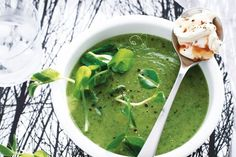 For a delicious and tempting starter recipe, try this pea & pea shoot soup with coriander and sweet chilli cream.
