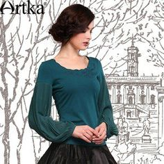 Artka Women's Autumn Vintage O-Neck Long Lantern Sleeve Embroidery Patchwork Solid Color Chiffon T-Shirt SA10747C