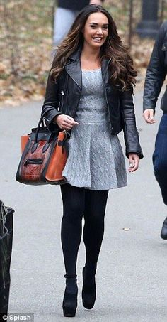 dd5953a690eae Tamara Ecclestone Grey Knit Dress, Dress Black, Black Leather Biker Jacket,  Black Tights