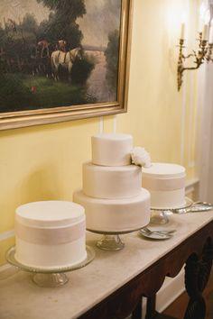 Metallic tiered cakes at Lowndes Grove wedding.   McMorrow Wedding | The Burlap Elephant