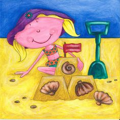 Gertie at the Seaside! Rhyming Words, Seaside, My Books, Little Girls, Vibrant, Fish, Illustration, Painting, Color