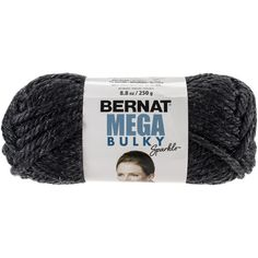Bernat® Mega Bulky Sparkle Yarn Dark Gray Heather Sparkle