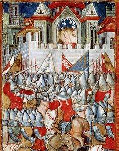 Charlemagne and his army outside the walls of Pamplona in Illuminated manuscript; Medieval Life, Medieval Art, Medieval Manuscript, Illuminated Manuscript, European History, Art History, Renaissance, Eslava, Carolingian