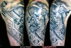 Firefighter  tattoo of ladder companies operating. Inked by Luca Natalini.