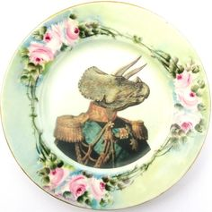 Do you know how much I love dinosaurs? Admiral Triceratops portrait plate, $42