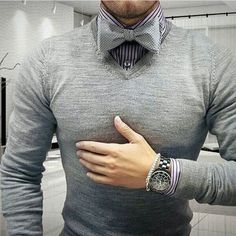 Bow tie style, this monochrome outfit features a bow tie and sweater Mens Fashion Sweaters, Sweater Fashion, Sweater Outfits, Men Sweater, Monochrome Outfit, Suit Up, Suit Accessories, Target Style, Tie Styles