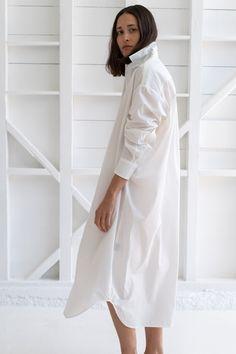 Reliquary House Line   THE SHIRT DRESS IN WHITE ORGANIC COTTON – RELIQUARY The White Album, Oversized Shirt Dress, Simple Wardrobe, Dress Up, High Neck Dress, Wardrobe Staples, Bathing Suits, Organic Cotton, White Dress