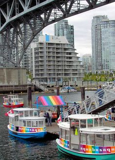 Passenger ferries under Granville Bridge on False Creek, Vancouver, BC Vancouver Bc Canada, Downtown Vancouver, Vancouver Island, Travel Pics, Travel Pictures, Places To Travel, Places To Go, Western Canada, Land Of The Free