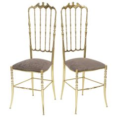 Pair of Tall Brass Chiavari Chairs | From a unique collection of antique and modern side chairs at https://www.1stdibs.com/furniture/seating/side-chairs/