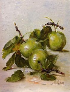 """Daily Paintworks - """"Apples with Leaves. Oil on canvas 8x6"""" - Original Fine Art for Sale - © Nina R. Aide"""