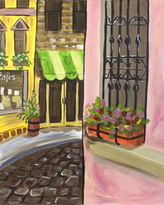 """Social Artworking Canvas Painting Design - Cobblestone Way The Old Country abounds with cobblestone walkways, window boxes overflowing with blooms, store fronts that have been unchanged for hundreds of years. Paint a piece of that history to hang in your own home. Pour a glass of your favorite imported wine and imagine yourself in a simpler time and place.   CANVAS SIZE:  16"""" x 20""""  TIME TO PAINT:  approximately 3 hours"""